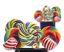 sugar candy cane lollipop collection - stock photo