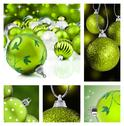 Stock Photo of collage of green christmas decorations