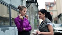 Businesspeople talking on coffee break, outdoors Stock Footage