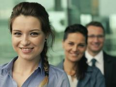 Portrait of young happy, successful business people, steadicam shot NTSC - stock footage