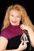 blond woman with jewels - stock photo