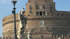 Tourists on the bridge Sant 'Angelo Stock Footage