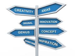 3d creativity signpost - stock illustration