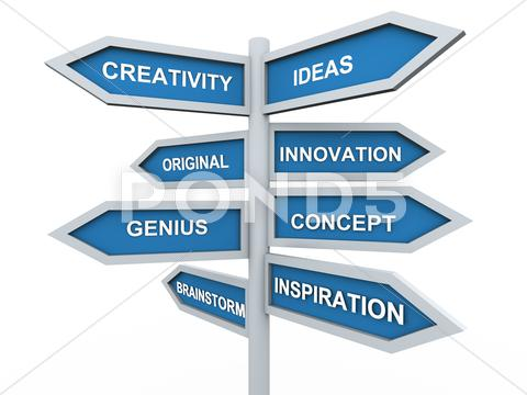 Stock Illustration of 3d creativity signpost