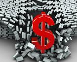 Stock Illustration of 3d dollar symbol wall break