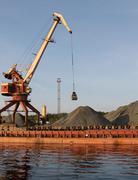 clamshell crane - stock photo