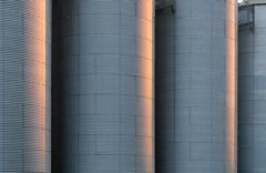 corrugated silo tanks - stock photo