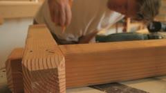 Marking wood 4 Stock Footage