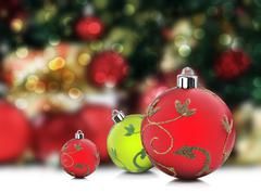christmas decorations under a christmas tree with space for text - stock photo
