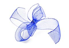 blue ribbon bow on a white background - stock photo
