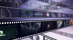 Loop-able creative animation of film reels Stock Footage