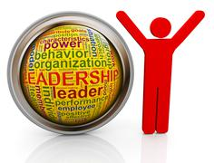 3d man with leadership wordcloud - stock illustration