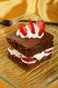 Strawberry brownie Stock Photos