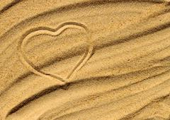 heart on the sand - stock photo