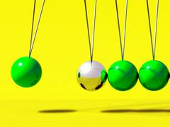 3d newtons cradle green ball Stock Illustration