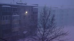 The wind bore snow and blew so are strong that shook and all house shivered Stock Footage