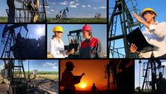 Workers in an Oilfield, multiscreen Stock Footage