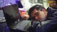 Laptop asleep study work  worked over worked Stock Footage