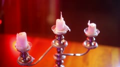 Lighting candles candelobra Stock Footage