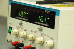 Power supply with digital display Stock Photos