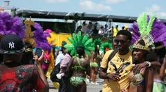 Picture with Caribbean festival parade participant Stock Footage