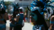 Face painted girl . Caribana festival parade Stock Footage
