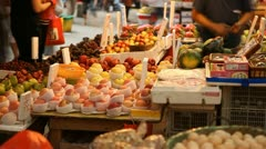 Hong Kong Market Street, Fruits, Vegetables, Chinese, time lapse Stock Footage