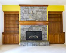 yellow accent wall - stock photo