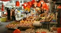 Hong Kong Market Street, Meat, Fruits, Clothes, Fish, Vegetables, Chinese Footage