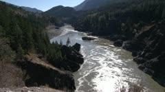 Fraser River in autumn, wide shot, backlit Stock Footage