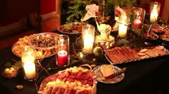 Beautiful fancy table setting for dinner party Stock Footage