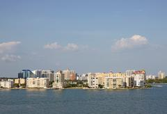 Skyline of Sarasota, Florida, viewed from above the water - stock photo
