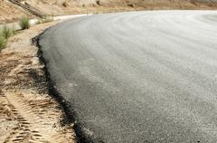 Stock Photo of new asphalt highway road.