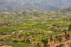 Big And Beautiful Valley In Ecuador Andean Mountains Close To Banos City - stock photo