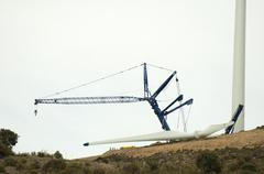 Installation of wind turbines Stock Photos