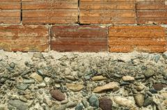wall of bricks and stones - stock photo