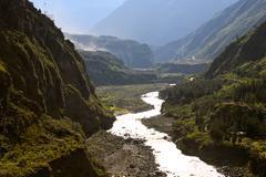 Pastaza River Near Banos De Agua Santa Ecuador In The Late Afternoon Site Well Stock Photos