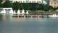 Stock Video Footage of Crewing Charles river Boston