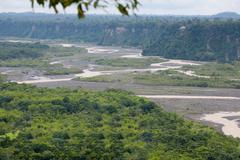 Upano River Close To Macas City In Ecuador - stock photo