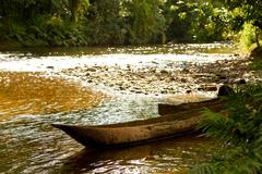 Single Tree Chopped Canoes In The Amazonian Basin Used To Transport People Crops Stock Photos