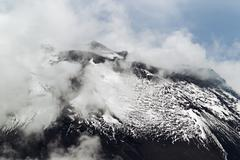 Tungurahua Volcano View From The Same Level As The Erupting Point Small Amount - stock photo