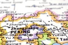 close up of peking or beijing on map, china - stock photo
