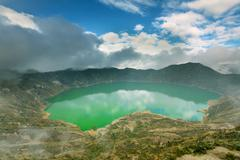 Quilotoa Lagoon In Ecuador Highlands Of Andes Formed On An Ancient Volcano - stock photo