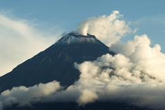 Stock Photo of Tungurahua Volcano Smoking Early 2012
