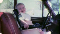 Infant COMMUTER Seatbelt BABY DRIVER 1950s (Vintage Film Home Movie) 4950 Stock Footage