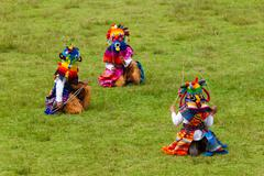 Three Disguised Kids During Annual Festivities In Lloa Quito Ecuador - stock photo