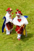 Two Kids Dressed Up As Dwarfs Traditional Costumes In Lloa Ecuador Stock Photos