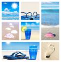 Collage of beach holiday scenes Stock Photos