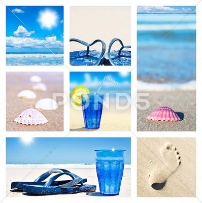 Stock photo of collage of beach holiday scenes