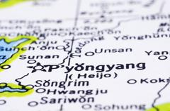 close up of pyongyang on map, north korea - stock photo